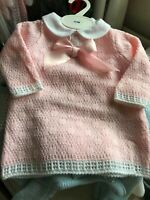 Spanish Knitted Baby Girls Dress Pink Ribbons Flowers Lace 0-3 3-6 6-9 Mths