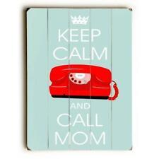 One Bella Casa 0004-6683-25 9 x 12 in. Keep Calm Call Mom Solid Wood Wall Dec.
