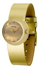 Moog Paris Zoom Women's Watch with Champagne Dial, Gold Genuine Leather Strap