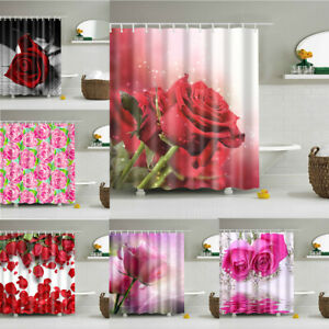 Pink Rose Flower Print Waterproof Bath Shower Curtain Polyester Washable Fabric