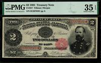 1891 $2 Treasury Note FR-357 - McPherson - Graded PMG 35 EPQ - Choice Very Fine