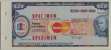 United States 20 Dollars Travelers Cheque Specimen UNC