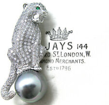 JEWELLERY STUNNING ART DECO MICRO PAVE RHINESTONE PANTHER PEARL COCKTAIL BROOCH