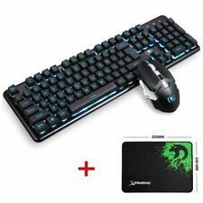 UK 2.4G Wireless Rechargeable Blue LED Gaming Keyboard + 6 key 2400DPI Mouse Set