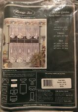 NOS VINTAGE HERITAGE LACE  WHITE FLOWER GARDEN PATTERN 60X24 TIER CURTAIN
