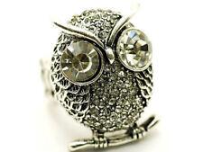 Crystal Accented Silvertone Big Eyed Owl Stretch Ring