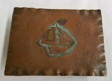 VINTAGE ARTS & CRAFTS STYLE HAMMERED COPPER TRINKET BOX WITH EMBOSSED SHIP