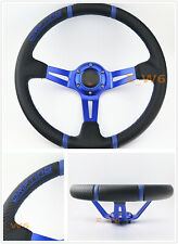 350MM BLUE 3D LEATHER DEEP DISH RACING STEERING WHEEL BLUE STITCHING & HORN
