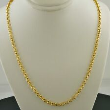 14K YELLOW GOLD OVER .925 STERLING SILVER ROUND ROLO LINK 18 INCH NECKLACE