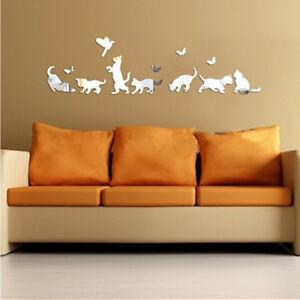Wall Stickers Bathroom Creative 3D Box Mirror Cat & Butterflies Home Decoration