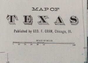 """Vintage 1903 TEXAS Map 22""""x14"""" ~ Old Antique Original ~ AUSTIN BEAUMONT ROCKPORT"""