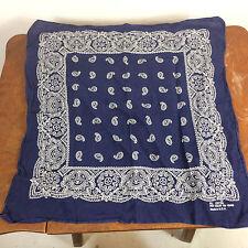 Vintage Blue Indigo Paisley Fast Color All Cotton Work Handkerchief Usa Trucker
