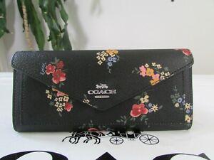 NWT Coach Slim Envelope Wallet With Wildflower Print 7090 Black Multi
