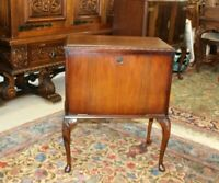 English Antique Mahogany Queen Anne Small Bar Cabinet