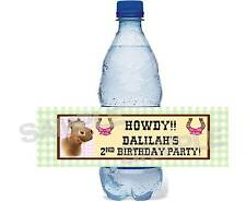 Western Horse PINK COWGIRL birthday party water bottle label wrapper Personalize