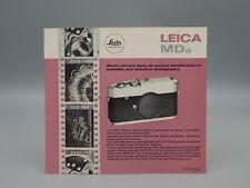 """Original 1961 """"LEICA MDa"""" Camera Brochure"""