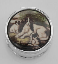 Classic Porcelain Top Pillbox with 3 Dogs - Sterling Silver #Pap. Lot 20161552