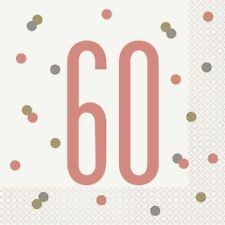 *NEW ROSE GOLD GLITZ* Age 60 - Happy 60th Birthday - Party Supplies Decorations