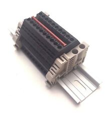 Power Distribution Terminal Blocks 10 Gang Black DIN Rail Dinkle 12AWG 20A 600V