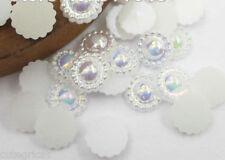 50pcs - Cute Bright WHITE w/- Iridescent effect Pearl Flatbacks - 10mm