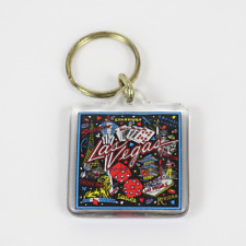 Las Vegas Keychain w/ Gold Ring and Casino Patterns