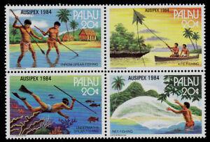 PALAU, SCOTT # 55-58 (58A), BLOCK OF 4 FISHING METHODS & TECHNIQUES, 1984 MNH