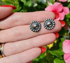 Round Stud Post Earrings Sterling Silver Navajo Small