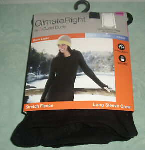 ClimateRight Cuddl Duds Long Sleeve Crew Stretch Fleece Size XS Black