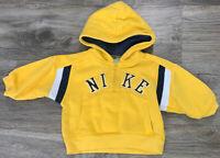 Vintage Nike Air 1/4 Zip Embroidered Hoodie Hooded Sweatshirt 12 Month Yellow