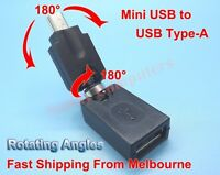 Mini USB 5P Male to Type-A Female Adapter Connector Dual 180° Rotating Angle AU