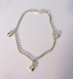 Sterling Silver Bracelet- link chain- 3 dangling hearts- petite bracelet