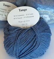Paquet 10 Pelotes Laine et Cachemire Tango ! Marque Française / Bleu Jean