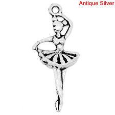 10 Silver Tone Ballerina Dancer Charms Pendants chs0594