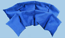 2x Neck pain relieving wheat bags in luxury blue velour. Aroma free. 4 sectional