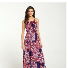 d328fbc9804 Tommy Bahama Brushstroke Blooms Maxi Dress Purple Orange Floral Medium