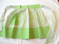 Apron Vintage Half Apron 1970's Handmade Green & White Stripe Cotton