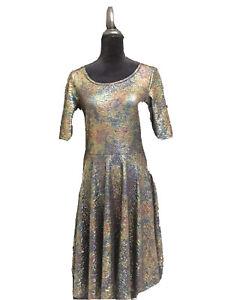 LuLaRoe Elegant Nicole Dress Large Sparkle Shimmer Black Unicorn New