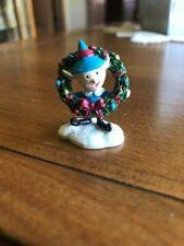 "Hawthorne Village Rudolph Christmas Town ""Elf with Wreath""~Euc"