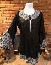 Vintage 80s Black Silver Embroidered Versatile Open Dressy Jacket Large