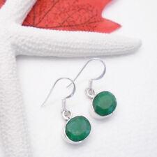 Indischer Smaragd grün oval Design Ohrringe Ohrhänger 925 Sterling Silber neu