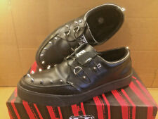 TUK Shoes Black Leather Studded Two D Ring Sneaker Studs Mens UK 11 Boxed