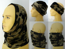 men's ladies DARK BROWN CAMO camouflage SNOOD balaclava fleece Neck warmer scarf