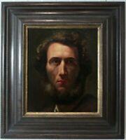 Maler aus dem Umkreis Anselm Feuerbach Herrenportrait en face Ölgemälde 19Jhd