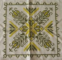 Vintage Cross Stitch Embroidered Linen Tablecloth Green on Creamy White 49""