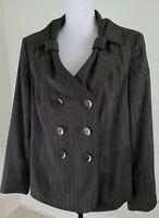 John Meyer of Norwich~Woman Plus Sz 16W~Brown w/Gold Thread Blazer Career Jacket