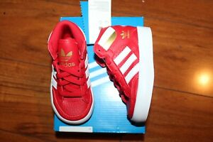 NWT BABY BOYS GIRLS ADIDAS SZ 7 SHOES HARD COURT HI RED