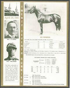 1901 - HIS EMINENCE - Kentucky Derby Winner, Race Chart, Jockey & Owner