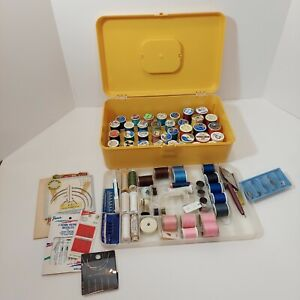 Vintage WIL-HOLD Wilson Gold Plastic Sewing Box & Lot of Sewing Supplies