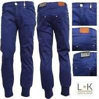 Pantalone In Caldo Cotone Blu Con Polsini Ragazza Sarabanda F441