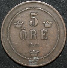 More details for 1881   sweden 5 ore   copper   coins   km coins